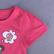 3Pcs Bande Dessinée Impression Toddler Filles Vêtements Ensemble T-shirts Tops + Jeans Shorts Pantalon Pour 1Y-9Y