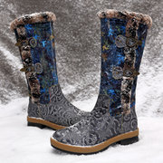 SOCOFY Retro Buckle Genuine Cow Leather Warm Lining Splicing Pattern Zipper Winter Mid Calf Boots