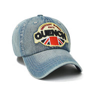 Men Britain Embroidery Pattern Cowboy Washed Adjustable Flexible Cotton Baseball Cap