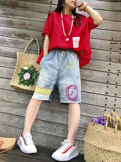 Embroidery Elastic Waist Wide Leg Shorts Denim