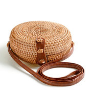 Donna Round Straw Beach Borsa Vintage Travel Crossbody Borsa