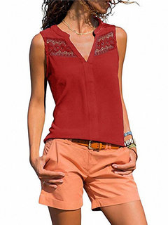 Casaul Lace Crochet V-neck Sleeveless Tank Top for Women