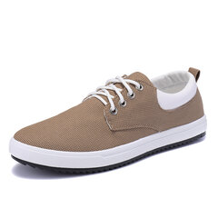 Men Canvas Pure Color Lace Up Trainers Flat Casual Shoes