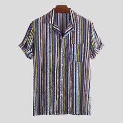 رجل نمط العرقية Colorful قميص مقلم الصيف قصيرة الأكمام فضفاضة عارضة
