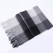 Winter Men's Scarves Wool Warm Soft With Tassel Shawl Classical Plaid Scarf For Men