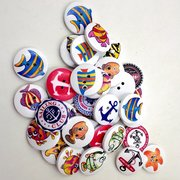 50Pcs 20mm Marine Printing Buttons Fish Anchor Two Holes Round Wooden Buttons