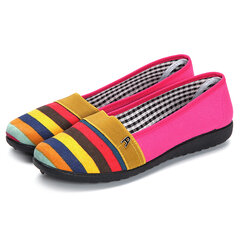 Breathable Colorful Streak Slip On Canvas Flat Shoes