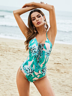 Plus Size Tropical One Piece Slimming String Floral Backless Sexy Women Swimwear By Newchic