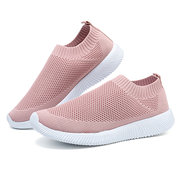 Plus Size Women Walking Breathable Air Mesh Knit Slip On Sneakers Trainers Shoes