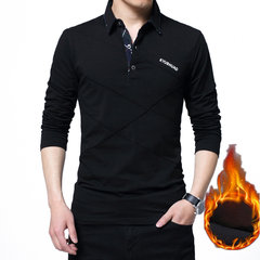 Mens Line Design Fleece Futter Umlegekragen Langarm Casual Cotton Polo Shirt
