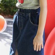 Solid Color Girl Comfy Irregular Denim Skirt For 6-15Years
