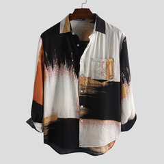Mens Fashion Tie dyeing Colorblock Long Sleeve 100% Cotton Loose Casual Shirt