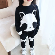 2pcs Panda Girls T-shirt + Pants Clothing Sets Tracksuit For 2Y-11Y