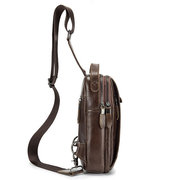 Vintage Genuine Leather Crossbody Bag Large Capacity Chest Bag For Men