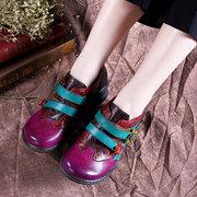 SOCOFY Handmade Натуральная Кожа Крюк Круглый носок на платформе Удобная обувь