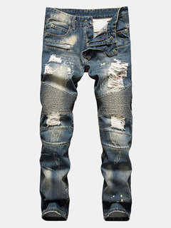 Slim Fit Straight Holes Ripped Casual Washed Jeans For Men