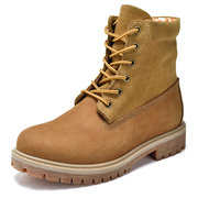 Large Size Men Genuine Leather Breathable Stitching Fashion High Top Boots