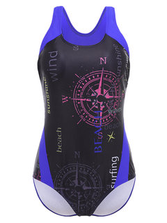 Printed Letters Figure Flattering High Elastic One Piece Swimsuit Swimwear For Women