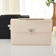 PU Leather Jewelry Storage Box Earring Ring With Mirror Lock Cosmetic Case