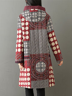 Women Ethnic Printed Plate Buckle Hooded Thicken Coats