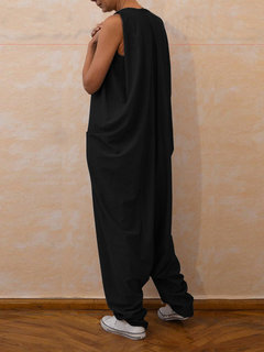 Sleeveless Long Maxi Playsuit Romper Overalls Jumpsuit
