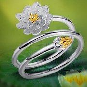 Anelli placcati argento da donna etnici Anelli apribili regolabili impilabili con fiore solido di loto