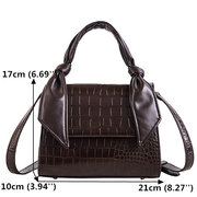 Women PU Leather Crocodile Pattern Handbag Solid Leisure Crossbody Bag Chic Shoulder Bag
