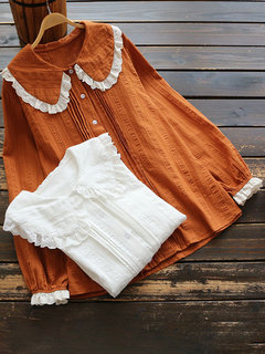 Lace Patchwork Pleated Lapel Long Sleeve Shirt