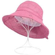 Women Summer Breathable Chiffon Flower Bow Bucket Hat Casual Sunscreen Visor Fisherman Hat