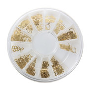 Gold Metal Nail Art Tip Design Wheel DIY Decal Sticker Decoration Manicure