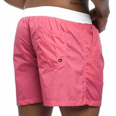 White Waistband Patchwork Solid Color Quick Dring Beach Board Short with Back Pocket