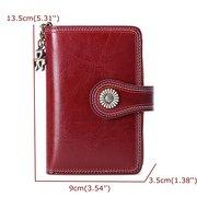 Women Men Genuine Leather Multi-slots Short Wallet Small Purse