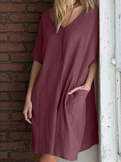 Summer V-neck Loose Plus Size Mini Dress with Pockets