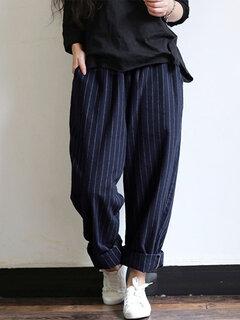 Vintage Stripes Pockets Elastic Waist Loose Pants