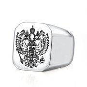 Trendy Stainless Steel Carving Double Eagle Head Square Finger Ring Vintage Jewelry Rings for Men