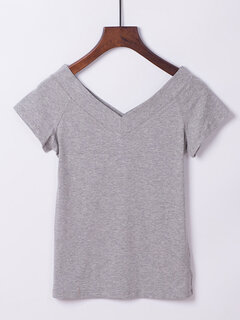 Cotton Solid Color Double V-neck Short Sleeve T-shirts