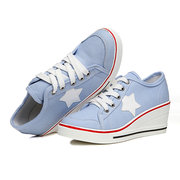 Star Lace Up Canvas Pure Color Wedges Shoes