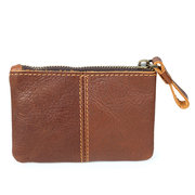 Genuine Leather Vintage Mini Coin Bag Card Holder Purse Wallet For Men