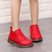 Girls Elegant Pure Color Zipper Keep Warm Ankle Short Boots For Toddler And Kids