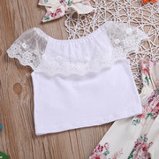 3Pcs Girls Lace Tops + Flower Pants Clothing Set For 0-24M