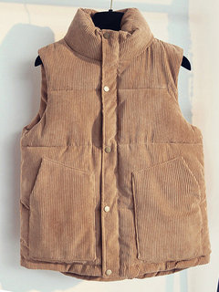 Women Soft Corduroy Cotton Lined Funnel Neck Loose Vest Coat
