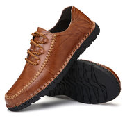 Men Hand Stitching Leather Slip Resistant Soft Sole Casual Shoes