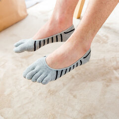 Men Summer Cotton Mesh Breathable Toes Socks Invisible Non-slip Ankle Socks