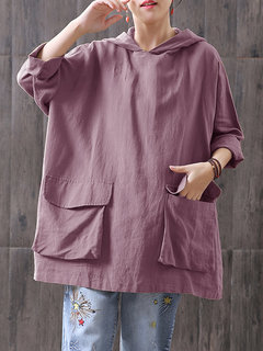 Vintage Hooded Long Sleeve Loose Plus Size Blouse with Pockets