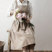 Scandinavian Style Washed Cotton Pleated Skirt Lady Elegant Aprons