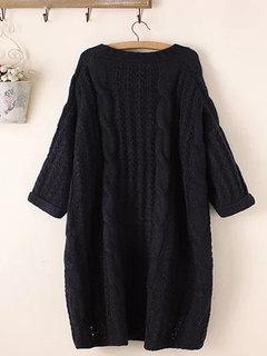Casual Solid Color 3/4 Sleeve Sweater for Women
