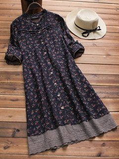 Embroidered Floral Print Patchwork Long Sleeve Vintage Dresses