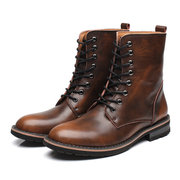 Men British Style Cow Leather Antiderrapante Top Top Botas Casual