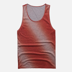 Mens Gradient Casual Sports Loose Round Neck Sleeveless Tank Top