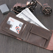 Кожа PU Двойной кошелек 6 слотов для карт Повседневная Винтаж Набор карт для монет Сумка Кошелек Для мужчин